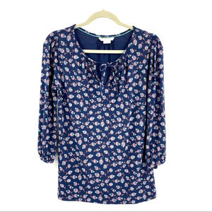 Boden Tunic Floral Print Tie Neck Pullover size 6